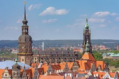 Aerial view over Dresden and the residential castle stock photo