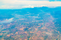 Aerial view over Earth Sea and Coast ,View from the airplane . Royalty Free Stock Photos