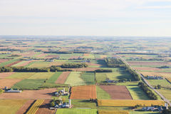 Aerial view over fields