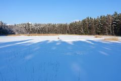 Aerial view over frozen lake cover in white snow with long blue shadows from trees and fishing man royalty free stock photos