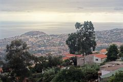 Aerial view over Funchal city on Madeira. Aerial view over Funchal city from Monte on Portuguese island of Madeira royalty free stock photography