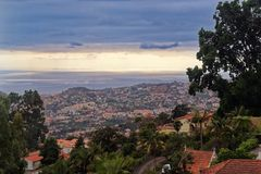 Aerial view over Funchal city on Portuguese island of Madeira. Aerial view over Funchal city from Monte on Portuguese island of Madeira royalty free stock photo