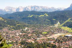 Aerial view over Garmisch in the alps of Bavaria Stock Photography