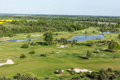 Aerial view over golf field Royalty Free Stock Photos