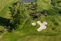 Aerial view over golf field Royalty Free Stock Photography