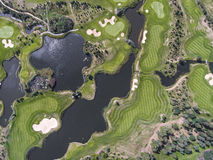 Aerial view over golf field in Poland. Summer time. Royalty Free Stock Images