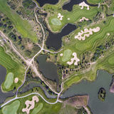 Aerial view over golf field in Poland. Summer time. Stock Photo