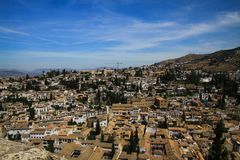 Aerial view over Granada from Alhambra, Andalusia royalty free stock photography