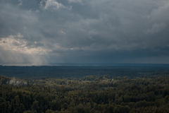 Aerial view over the green forest in evening. Cloudy mystery. Landscapes of Latvia. Royalty Free Stock Image