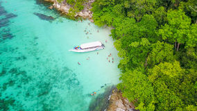 Aerial view over group of long tail boats with beautiful sea and Royalty Free Stock Image