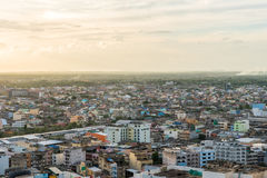 Aerial view over Hadyai city, Thailand in most cloudy day before sunset Stock Image