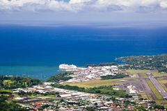 Hilo, Big Island, Hawaii. Aerial view over harbor and airport of Hilo on Big Island, Hawaii, USA Stock Images