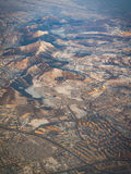 Aerial view over the highland town landscape Stock Images