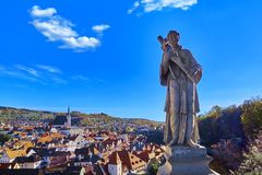 Aerial view over historic centre of Chesky Krumlov old town in the South Bohemian Region of the Czech Republic. On Vltava River. UNESCO World Heritage Site stock image