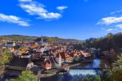 Aerial view over historic centre of Chesky Krumlov old town in the South Bohemian Region of the Czech Republic. On Vltava River. UNESCO World Heritage Site stock photography