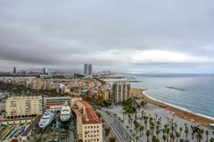 Aerial view over historical city center of Barcelona Spain royalty free stock images