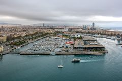 Aerial view over historical city center of Barcelona Spain royalty free stock photography