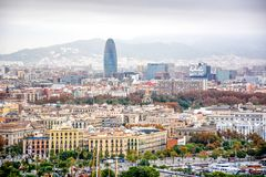 Aerial view over historical city center of Barcelona Spain stock image