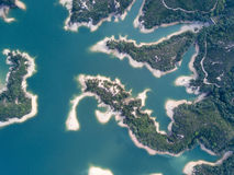 Aerial view over Hong Kong Tai Lam Chung Reservoir under smokey weather Stock Images