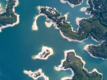 Aerial view over Hong Kong Tai Lam Chung Reservoir under smokey weather Royalty Free Stock Images