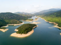 Aerial view over Hong Kong Tai Lam Chung Reservoir under smokey weather Stock Image