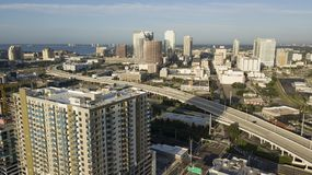 Aerial View Over Interstate Highway Leading to Downtown Tampa Florida. The bay is a good background for the downtown urban city center skyline of Tampa Florida royalty free stock image
