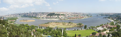 Aerial view over Istanbul Turkey Royalty Free Stock Images