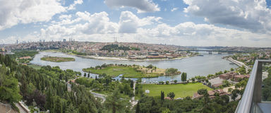 Aerial view over Istanbul Turkey Royalty Free Stock Image