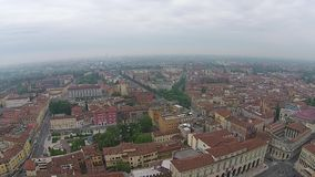Aerial view over Italian town Lucca with typical terracotta roofs stock video