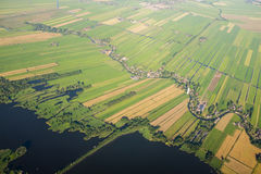Aerial view over the lake. Amsterdam suburbs Royalty Free Stock Photo