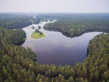 Aerial view over the lake and forest in Belarus.  Royalty Free Stock Photo