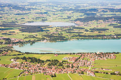 Aerial view over Lake Forggensee Stock Photos