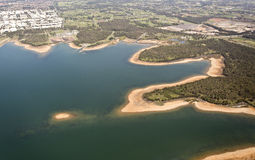Aerial view over lake Royalty Free Stock Photo