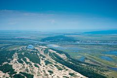 Aerial View Over Letea Forest in the Danube Delta, Romania. The forest grown on Maritime Salty Sand Royalty Free Stock Images