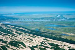 Aerial View Over Letea Forest in the Danube Delta, Romania. The forest grown on Maritime Salty Sand Royalty Free Stock Photography