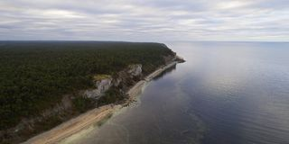 Aerial view over Limestone coastline. Limestone coastline on the island of Gotland in the Baltic sea in Sweden, Foggy morning Stock Photography