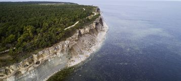 Aerial view over Limestone coastline. Limestone coastline on the island of Gotland in the Baltic sea in Sweden, Foggy morning Royalty Free Stock Image