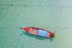 Aerial view over  long tail boat with beautiful sea and beach,To Royalty Free Stock Photography