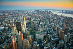 Aerial view over lower Manhattan New York Stock Image