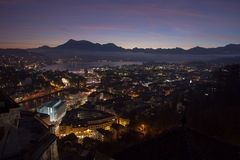 Aerial view over Luzern Lucerne at sunrise, Switzerland Royalty Free Stock Images