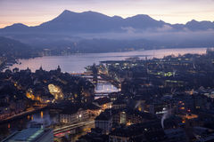 Aerial view over Luzern Lucerne at sunrise, Switzerland Royalty Free Stock Photography