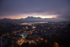 Aerial view over Luzern Lucerne at sunrise, Switzerland Stock Photos