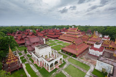 Aerial view over the Mandalay Palace Royalty Free Stock Photography