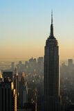 Aerial view over Manhattan at dusk Royalty Free Stock Photography
