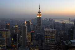 Aerial view over Manhattan at dusk stock photos