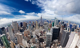 An aerial view over Manhattan New York city Royalty Free Stock Image