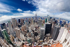 An aerial view over Manhattan New York city Royalty Free Stock Photography