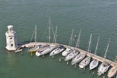 Aerial view over marina in Venice lagoon, Italy. Royalty Free Stock Photo