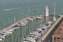 Aerial view over marina in Venice lagoon, Italy. Stock Image