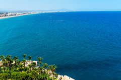 Aerial View Over Mediterranean Sea In Spain With Peniscola City. In Sight Royalty Free Stock Photography